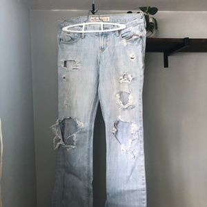 Distressed hollister bell bottoms